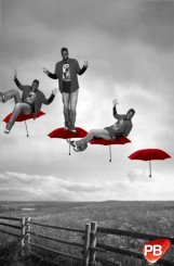 Photomontage multiposes Parapluies